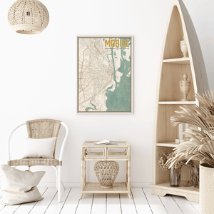 Mobile Alabama City Street Map Print
