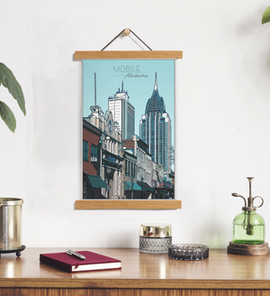 Mobile, Alabama Illustration Print | LMobile Hanging Canvas Print