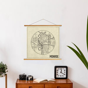 Monroe Louisiana Weathered Map Print | Hanging Canvas Map of Monroe | Printed Marketplace