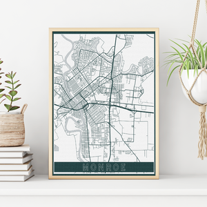 Monroe Louisiana Modern Street Map Print | Hanging Canvas