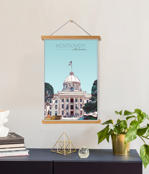 Montgomery, Alabama Illustration Print | Montgomery Hanging Canvas Print