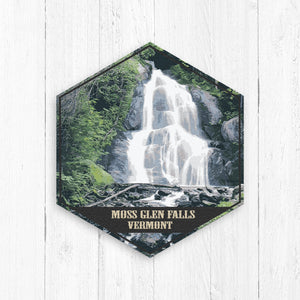 Moss Glen Falls Vermont Hexagon Illustration by Printed Marketplace
