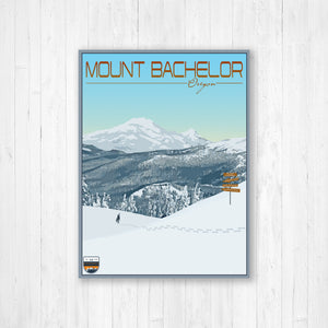 Mount Bachelor Oregon Modern Illustration Print by Printed Marketplace