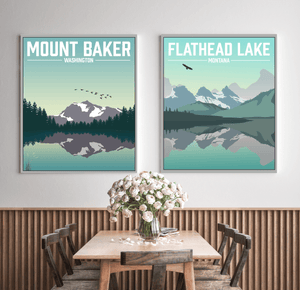 Mount Baker Washington Modern Illustration Print