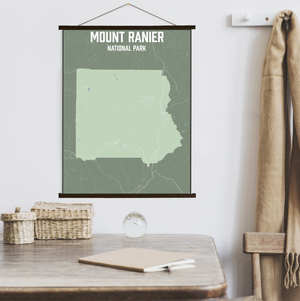 Hanging Canvas Map of Mount Rainier National Park by Printed Marketplace