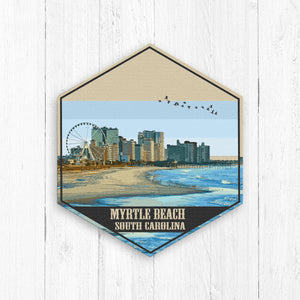 Myrtle Beach South Carolina Hexagon Illustration