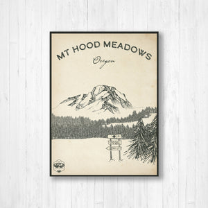 Mt Hood Ski Resort Sketch Print