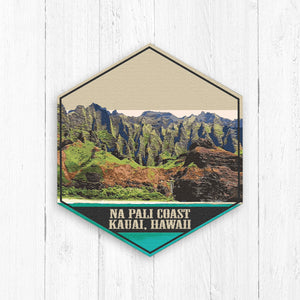 Na Pali Coast Kauai Hawaii Hexagon Illustration