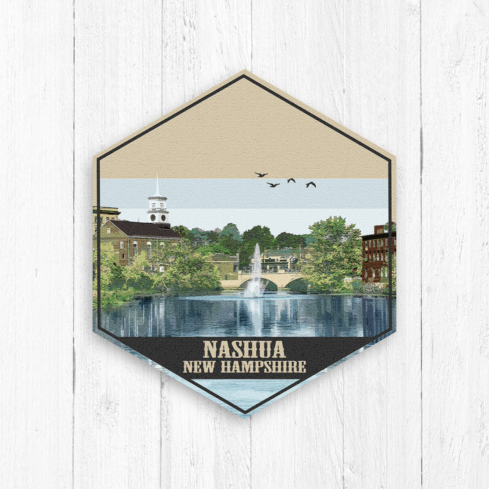 Nashua New Hampshire Hexagon Canvas Illustration