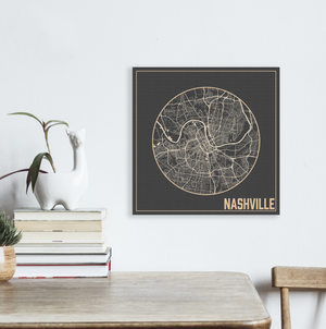 Hanging Canvas Square Map of Nashville Tennessee