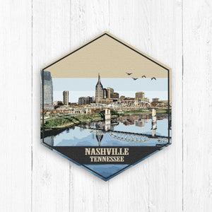Nashville Tennessee Hexagon Canvas Illustration