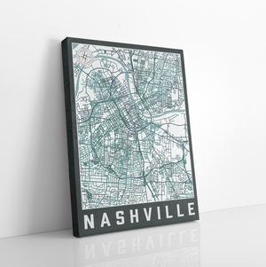 Nashville Tennessee Urban City Street Map Print