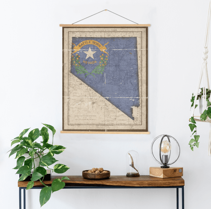 Nevada State Map Flag Print