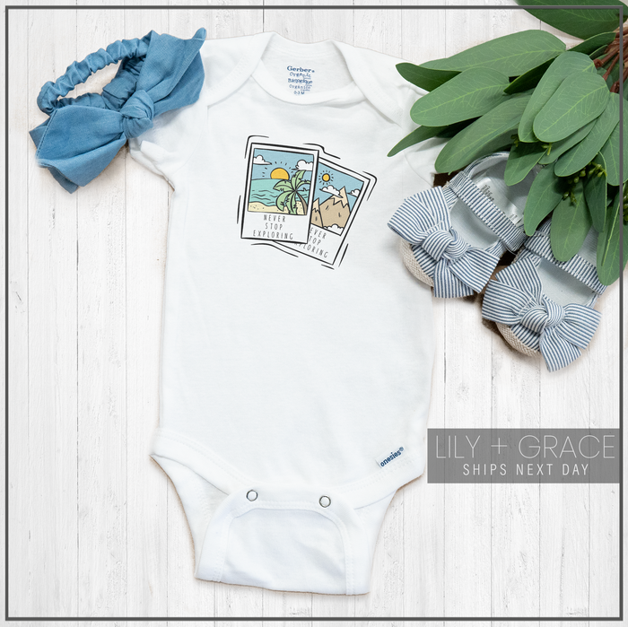 Beach Polaroid Onesie® | Baby Travel Apparel | Infant Boutique