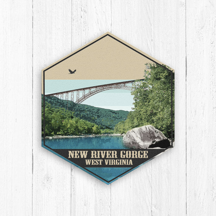 New River Gorge West Virginia Hexagon Canvas