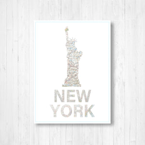 Statue of Liberty New York Map Print