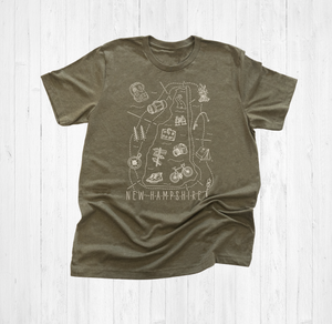 Illustrated New Hampshire Shirt By Printed Marketplace