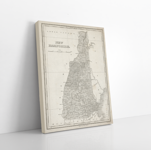 New Hampshire Antique State Map Print | New Hampshire Canvas Map Art | Printed Marketplace