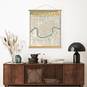 New Orleans Louisiana Antiqued Map