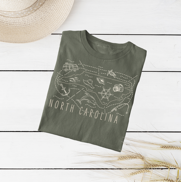 Illustrated North Carolina Shirt By Printed Marketplace