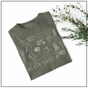 Illustrated North Dakota Shirt By Printed Marketplace