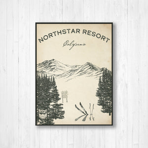 Northstar Ski Resort Sketch Print