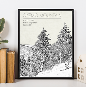 Okemo Mountain Vermont Ski Resort Print | Hanging Canvas of Okemo Mountain Resort | Printed Marketplace