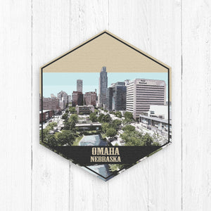Omaha Nebraska Hexagon Illustration by Printed Marketplace