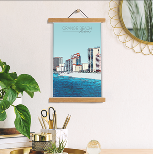 Orange Beach, Alabama Illustration Print | Orange Beach Hanging Canvas Print