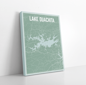 Lake Ouachita Arkansas Street Map Print