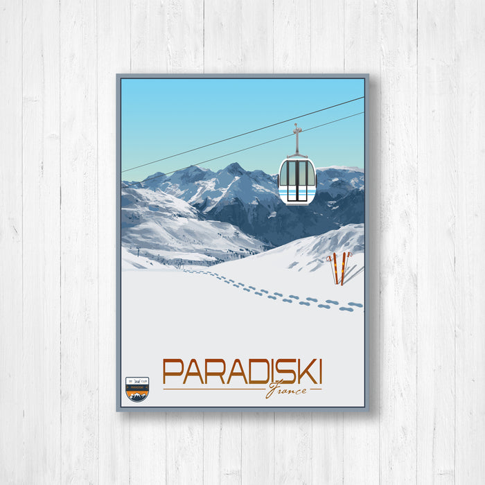 Paradiski France Modern Illustration Print by Printed Marketplace