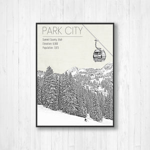 Park City Utah Ski Resort Illustration Print | Hanging Canvas of Park City Mountain Resort | Printed Marketplace