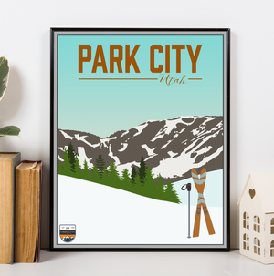 Hanging Canvas of Park City Utah Ski Resort Modern Illustration