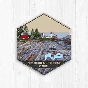Pemaquid Lighthouse Maine Hexagon Illustration by Printed Marketplace