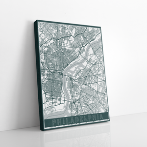 Philadelphia Street Map | Hanging Canvas Map of Philadelphia | Printed Marketplace