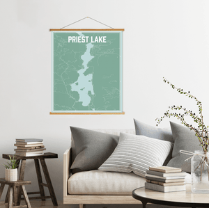 Priest Lake Idaho Lake Map Print