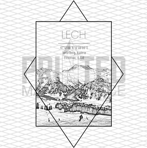 Lech Ski Resort Rectangle Graphic Tee Shirt or Hoodie