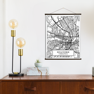 Roanoke Virginia Street Map Print: Black and White