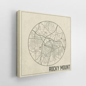 Rocky Mount North Carolina Weathered Street Map | Hanging Canvas Map of Rocky Mount | Printed Marketplace
