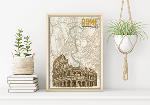 Rome Italy Rome City Map Illustration