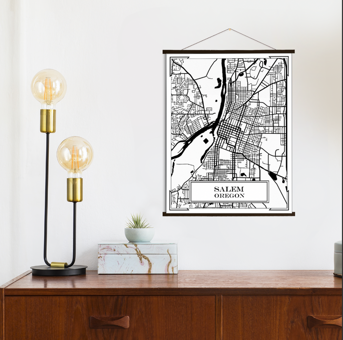 Salem Oregon City Street Map Print