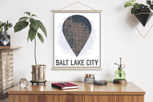 Salt Lake City Utah Street Map Destination Print