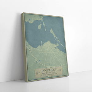 Sandusky Ohio Vintage Style City Street Map