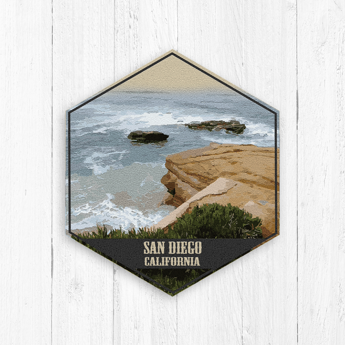 San Diego California Hexagon Illustration Print