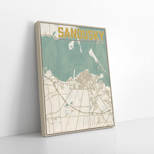 Sandusky Ohio City Street Map Print