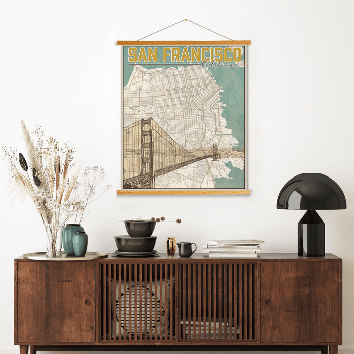 San Francisco California City Street Map Print | Hanging Canvas Map of Cape Cod