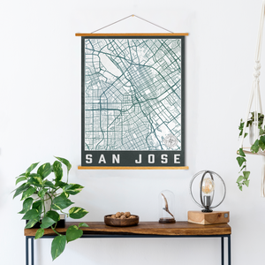 San Jose California City Street Map Print | Hanging Canvas Map of San Jose | Printed Marketplace