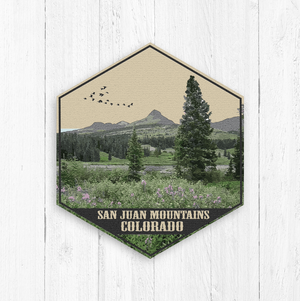 San Juan Colorado Mountains Hexagon Illustration Print