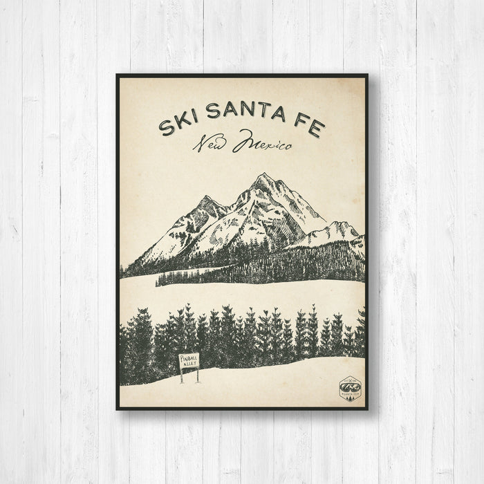 Santa Fe Ski Resort Sketch Print