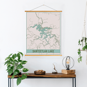 Santeetlah Lake North Carolina Lake Map Print